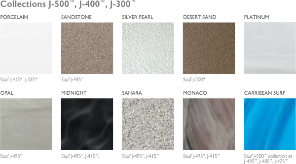 Coloris collections j 500 j 400 j300